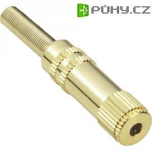 Jack konektor 3,5 mm stereo BKL 1103058, zásuvka rovná, 4pól., stříbrná