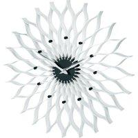 Analogové nástěnné hodiny TFA Lotus, 60.3009, Ø 500 x 5 cm, chrom, černá/bílá
