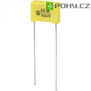 Foliový kondenzátor MKS, 0,068 µF, 250 V, 5 %, 13 x 4 x 9 mm