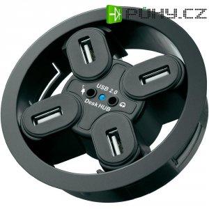 Vestavný USB 2.0 hub 80 mm + audio zásuvky, 4-portový