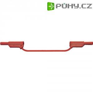 Měřicí kabel banánek 4 mm ⇔ banánek 4 mm MultiContact XVF-4075, 0,25 m, červená