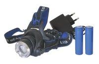 Čelovka LED 3W, Cree XM-L T6 + 2x18650 baterie a nabíječka