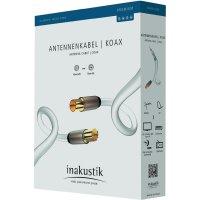 Anténní kabel vidlice ⇒ zásuvka, 75 Ω, > 100 dB, 5 m, bílý, Inakustik
