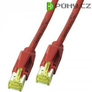 Patch kabel, CAT 6A S/FTP, RJ45, vidlice ⇔ vidlice, červená, 30 m