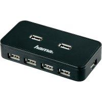 USB 2.0 hub Hama, 7-portový s adaptérem, černý