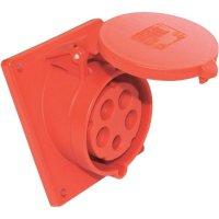 CEE zásuvka 425-6tt PCE, šikmá, 32 A, IP44, červená
