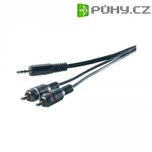 Připojovací kabel SpeaKa, jack zástr. 3.5 mm/cinch zástr., černý, 0,3 m