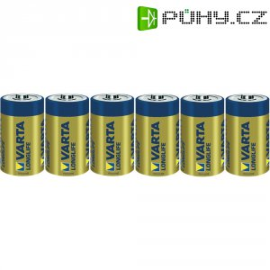 Alkalická baterie Varta Longlife, typ D, sada 6 ks