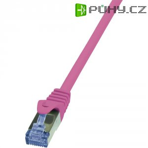Patch kabel LogiLink CAT6A S/FTP, růžová, 2 m