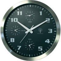 Analogové nástěnné DCF hodiny s 3 quarz hodinami, 40 cm, hliník/černá
