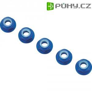 Hliníková samojistící matice M3 s límcem, 10 ks, modrá