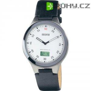 Ručičkové náramkové DCF hodinky Eurochron 401 CT, kožený pásek, černá/bílá