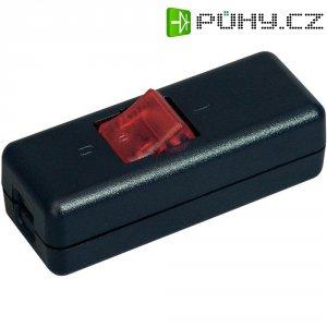 Šňůrový vypínač interBär, 2pólový, podsvícený, 250 V/AC, 10 A, černá/červená