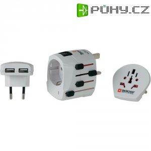 Cestovní adaptér PRO+ s USB Skross, 1.302500, bílá