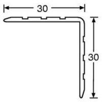 Hliníkový kryt hrany, 30 x 30 mm, délka 1 m