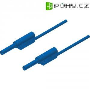 Měřicí kabel banánek 2 mm ⇔ banánek 2 mm SKS Hirschmann MVL S 50/1 Au, 0,5 m, modrá