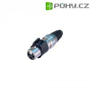 XLR kabelová zásuvka Neutrik NC3FX-HD, rovná, 3pól., 3,5 - 8 mm, IP65, stříbrná