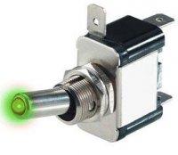 Přepínač páčkový ON-OFF 1pol.12V/20A zelená LED