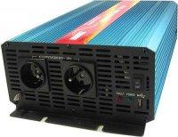 Měnič 12V/230V 2000W,čistá sinus.,CARSPA, dálk. ovládání. Rozbalený,