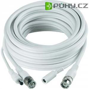 Video prodlužovací kabel Sygonix, 1x BNC, 1x DC IN ⇔ 1x BNC, 1x DC OUT, 30 m, bílý