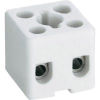 Porcelánová svorka Adels-Contact, 41 22 02, max. 2,5 mm², 2pólová, bílá