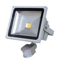 LED venkovní reflektor, 20W, 1600lm, MCOB, AC 230V, šedá, se senzorem PIR