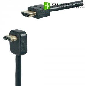 SpeaKa HDMI kabel s ethernetem, úhlový, 0,9 m, černý