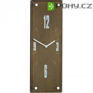 Analogové nástěnné DCF hodiny, 14,5 x 42 cm, ořech
