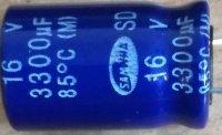 3300u/16V 85° 13x29x6mm, elektrolyt.kondenzátor radiální
