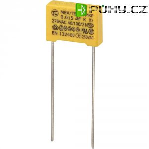 Foliový kondenzátor MKP, 0,015 µF, X2 275 V/AC, 10 %, 13 x 4 x 9 mm