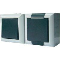 Kombinace vypínače a zásuvky Schuko s krytem GAO Business-Line 9169, 10 A, 230 V/AC, šedá