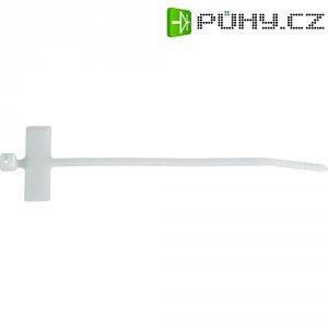 Stahovací pásek se štítkem Panduit PLF1MA-C, 130 x 2,5 mm, bezbarvá