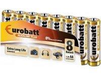 Baterie EUROBATT 1,5V AA (LR6) Alkaline Plus, balení 8ks
