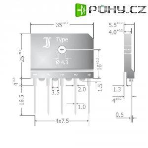 Můstkový usměrňovač 25 A 3fázový Diotec DBI25-04A, U(RRM) 400 V, 25 A
