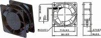 Ventilátor 80x80x38mm 230V/0,07A 2300 ot/min