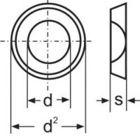 Podložka plochá TOOLCRAFT A4,3 D125:A2K 194699, DIN 125, M4, Ø 9 mm