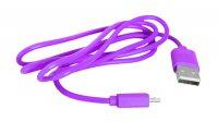 Kabel USB - Micro USB, růžový 1m