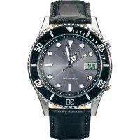 Ručičkové náramkové DCF hodinky Eurochron EFAUS 101, kožený pásek, solární