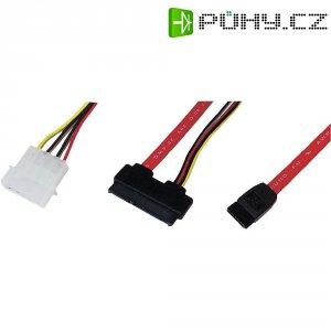 Napájecí/datový kabel pro HDD, SATA zásuvka + molex ⇔ SATA kombi zásuvka 7+15pól., 0,5 m