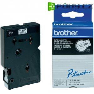 Páska do štítkovače Brother TC-201, 12 mm, TC, 7,7 m, černá/bílá