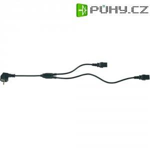Proud Y kabel [1x zástrčka s ochranným kontaktem - 2x IEC C13 zásuvka 10 A] 1.20 m černá