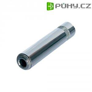 Jack konektor 6,35 mm stereo Rean AV NYS2203P, zásuvka rovná, 3pól., ≤ 6 mm, stříbrná