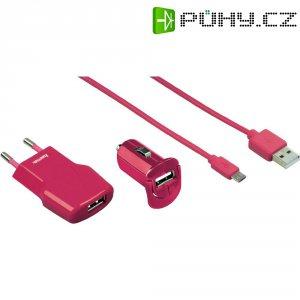 Sada USB nabíječek HAMA Picco, růžová