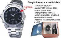 Kamera v hodinkách JK-027 záznam AVI,paměť 4GB, nefunkční.