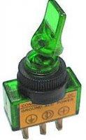 Vypínač páčkový ON-OFF 1pol.12V/20A zelené prosv.