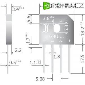 Křemíkový můstkový usměrňovač Diotec GBU6M, U(RRM) 1000 V, 6 A, SIL