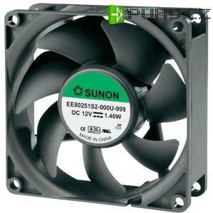 Axiální ventilátor SUNON® EE80251S2-0000-999, 80 x 80 x 25 mm, 12 V/DC