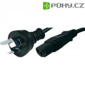 Síťový kabel Hawa, 1008256, zástrčka (Austrálie)  IEC zásuvka, 2 m, černá
