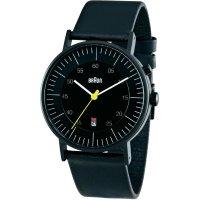 Ručičkové náramkové hodinky Braun Luminescent Quartz, kožený pásek, černá