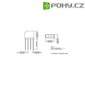 Můstkový usměrňovač IR 2KBB10, U(RRM) 100 V, U(FM) 1 V, I(F) 2 A, D-37